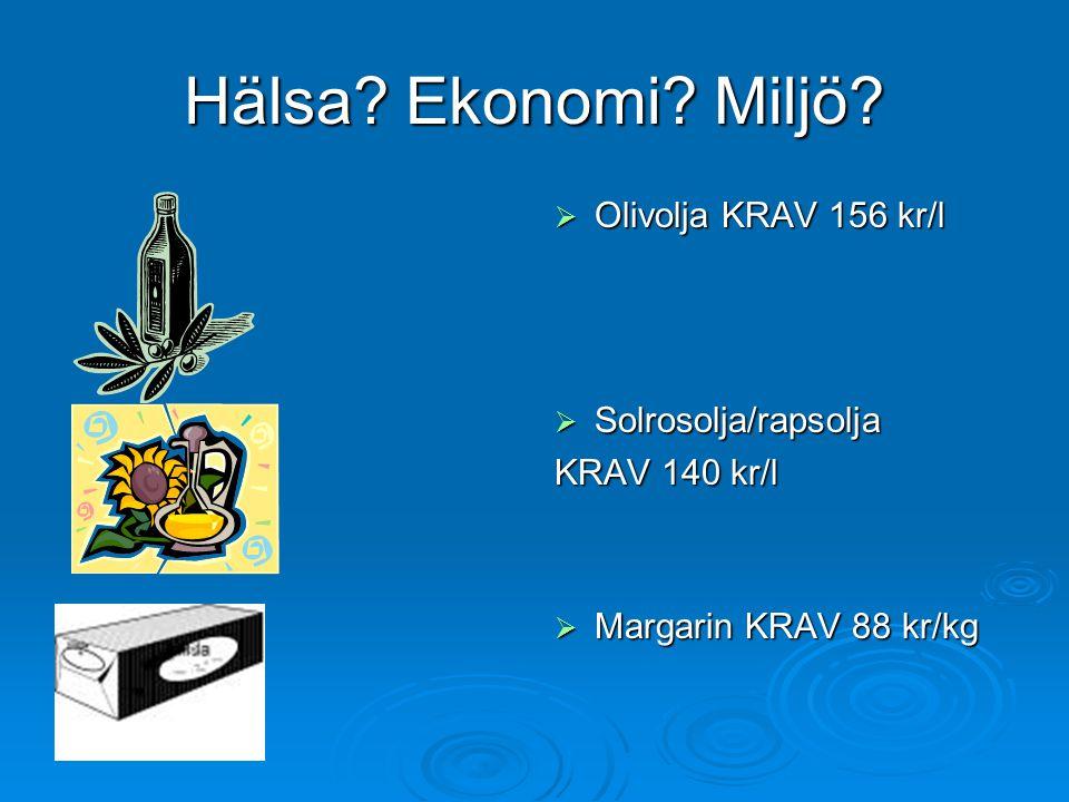 Hälsa? Ekonomi? Miljö?  Olivolja KRAV 156 kr/l  Solrosolja/rapsolja KRAV 140 kr/l  Margarin KRAV 88 kr/kg