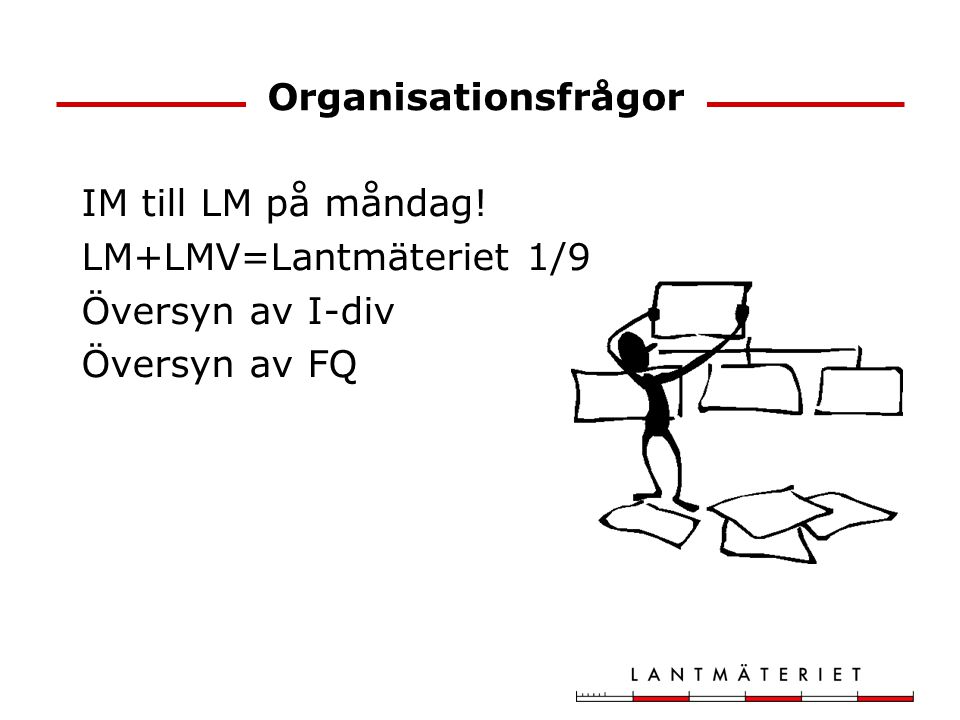 Organisationsfrågor IM till LM på måndag! LM+LMV=Lantmäteriet 1/9 Översyn av I-div Översyn av FQ