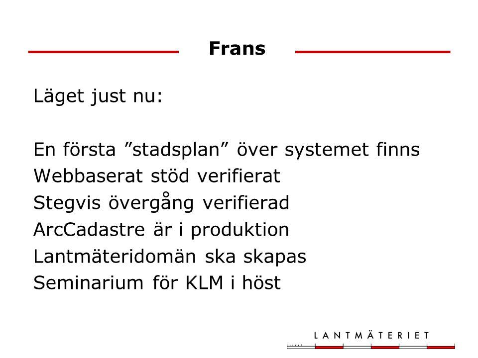 Frans Läget just nu: En första stadsplan över systemet finns Webbaserat stöd verifierat Stegvis övergång verifierad ArcCadastre är i produktion Lantmäteridomän ska skapas Seminarium för KLM i höst