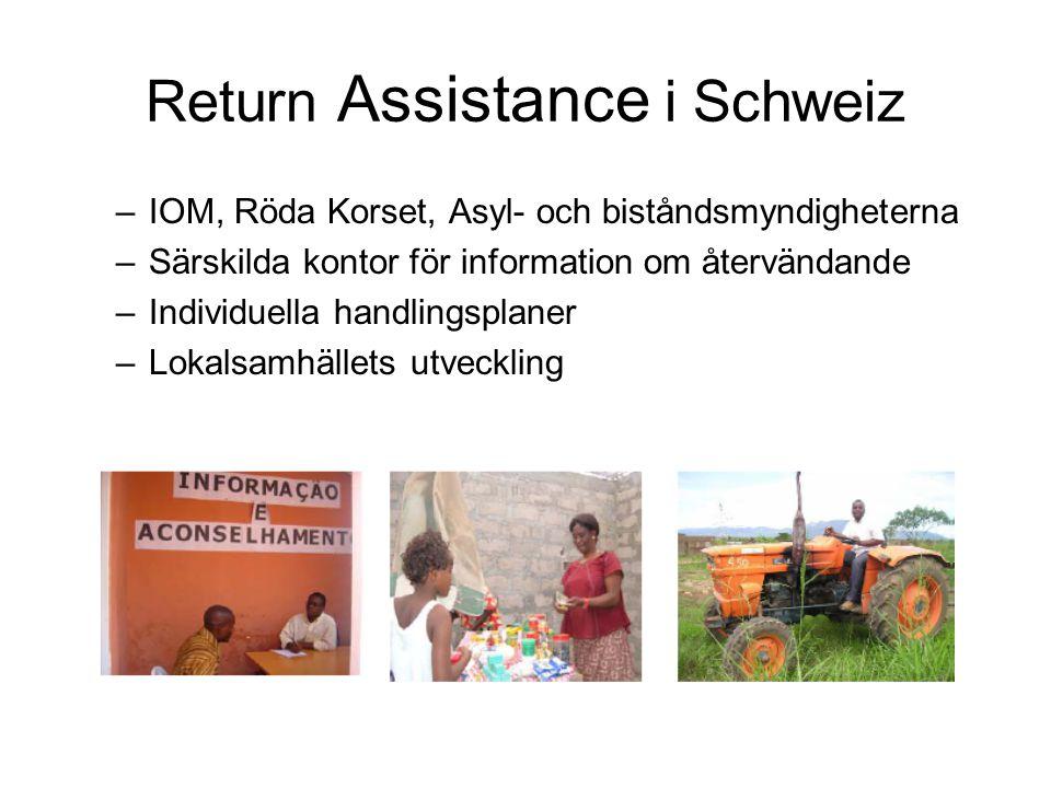 Return Assistance i Schweiz –IOM, Röda Korset, Asyl- och biståndsmyndigheterna –Särskilda kontor för information om återvändande –Individuella handlingsplaner –Lokalsamhällets utveckling
