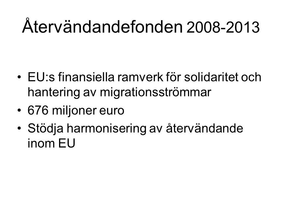 Återvändandefonden 2008-2013 EU:s finansiella ramverk för solidaritet och hantering av migrationsströmmar 676 miljoner euro Stödja harmonisering av återvändande inom EU