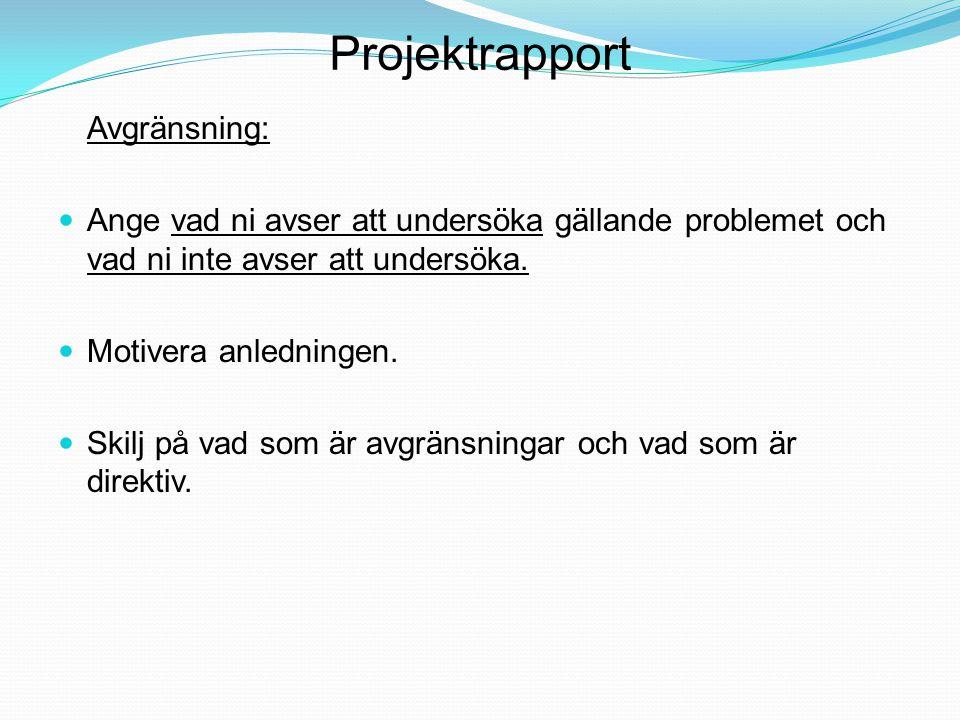 Projektrapport Avgränsning: Ange vad ni avser att undersöka gällande problemet och vad ni inte avser att undersöka. Motivera anledningen. Skilj på vad
