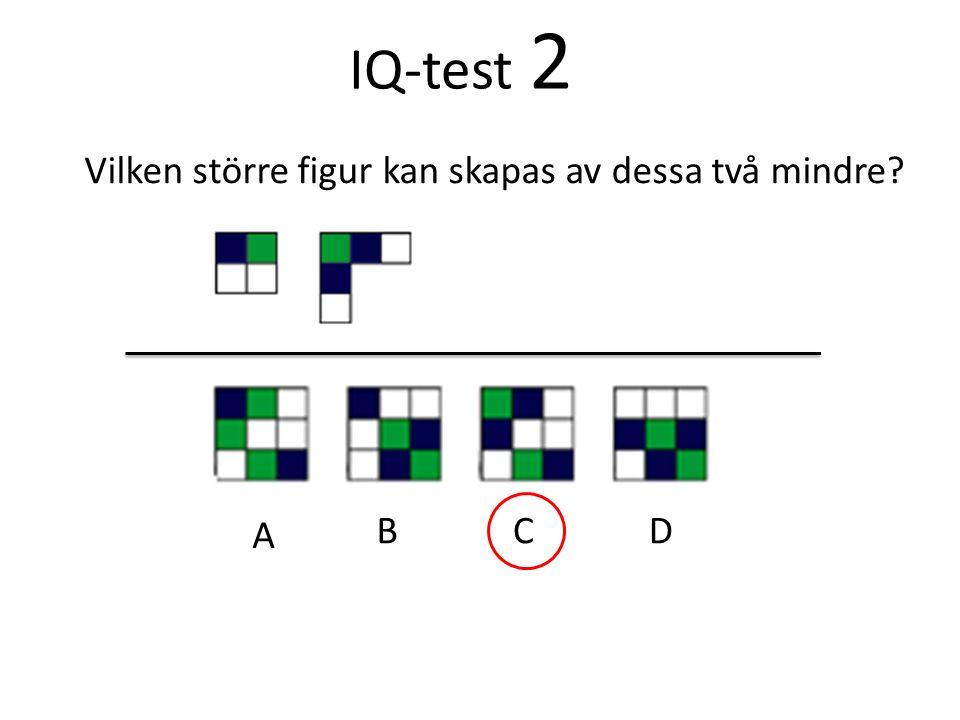 IQ-test 2 Vilken större figur kan skapas av dessa två mindre? A BCD