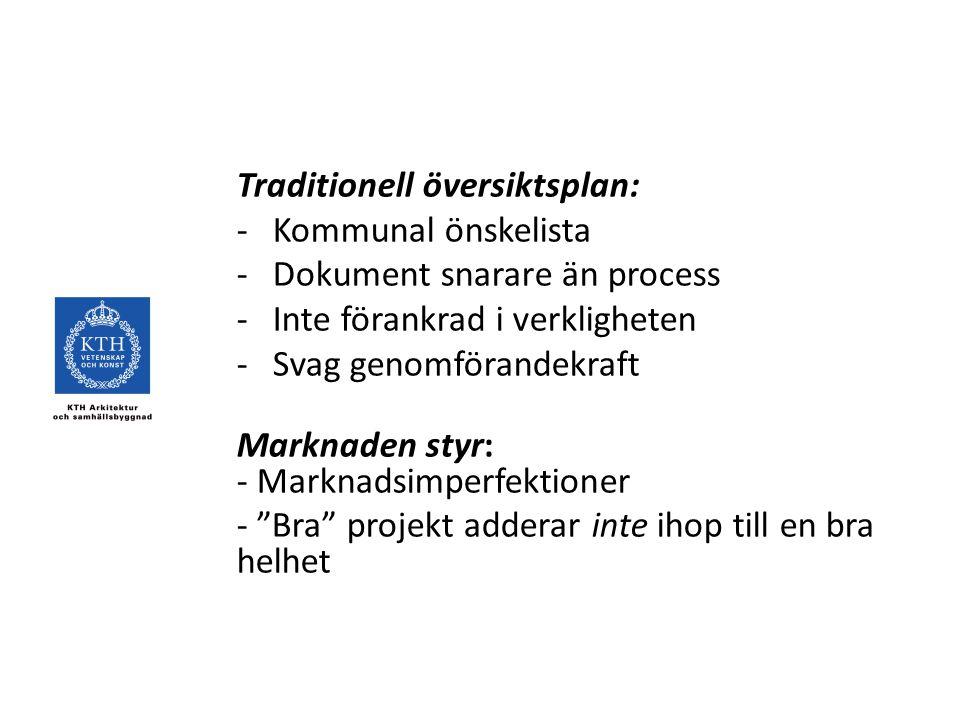 Traditionell översiktsplan: -Kommunal önskelista -Dokument snarare än process -Inte förankrad i verkligheten -Svag genomförandekraft Marknaden styr: - Marknadsimperfektioner - Bra projekt adderar inte ihop till en bra helhet