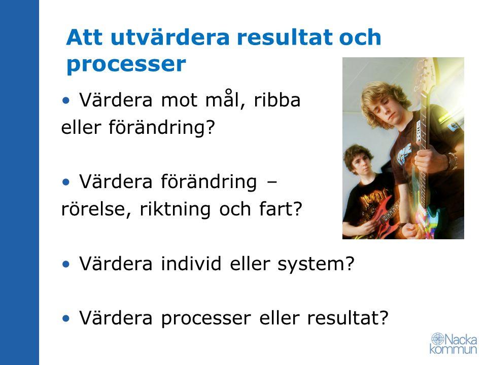 Att utvärdera resultat och processer Värdera mot mål, ribba eller förändring? Värdera förändring – rörelse, riktning och fart? Värdera individ eller s