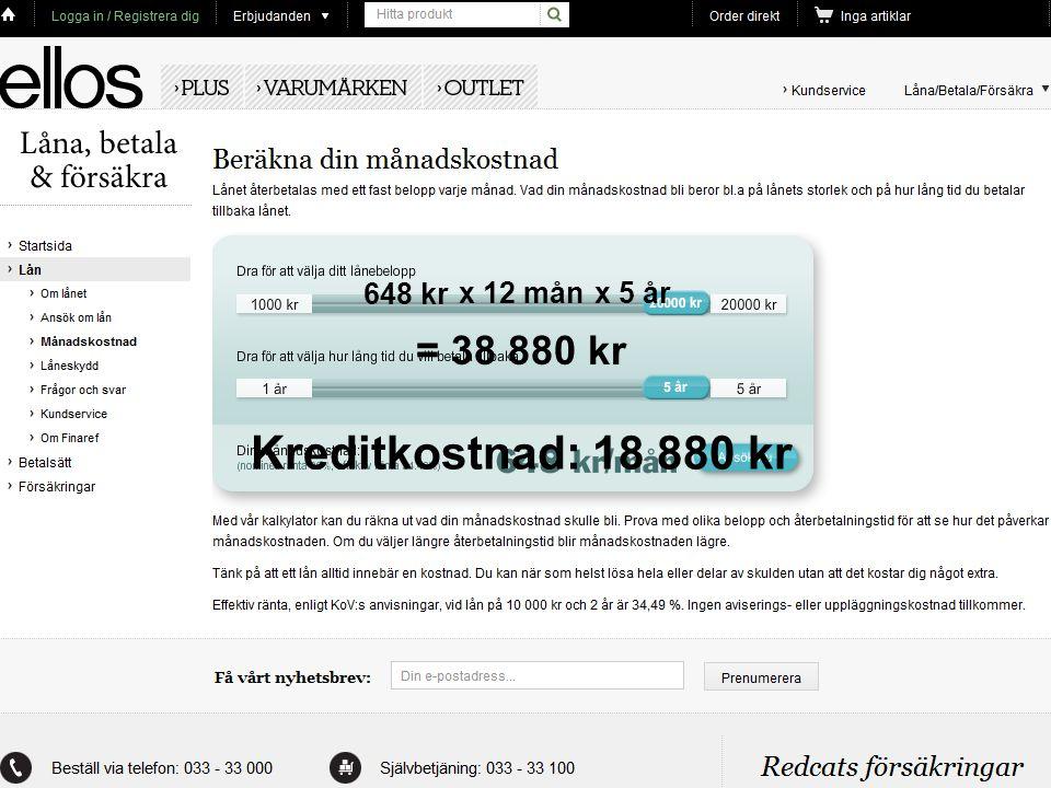 648 kr x 5 år = 38 880 kr Kreditkostnad: 18 880 kr x 12 mån