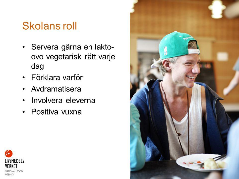 Servera gärna en lakto- ovo vegetarisk rätt varje dag Förklara varför Avdramatisera Involvera eleverna Positiva vuxna Skolans roll