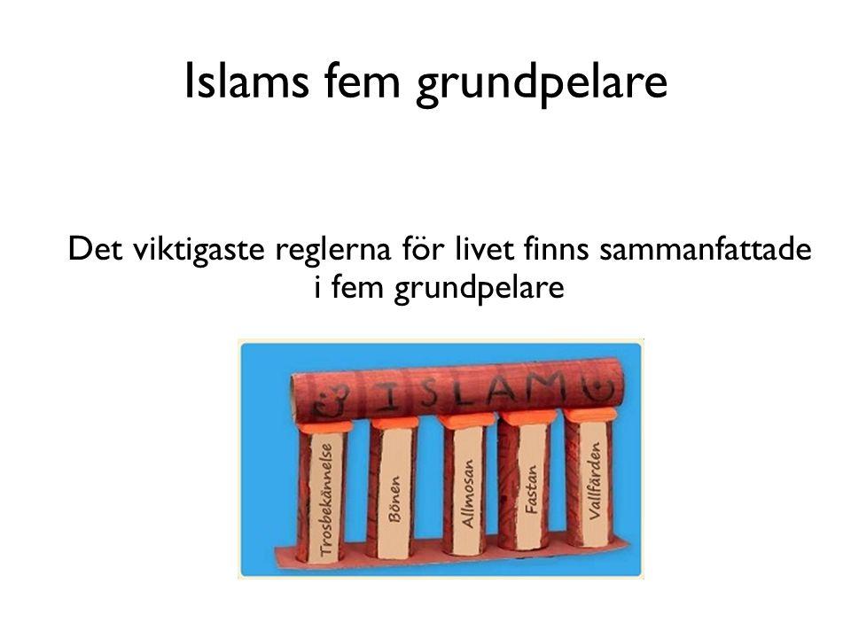 Islams fem grundpelare Det viktigaste reglerna för livet finns sammanfattade i fem grundpelare