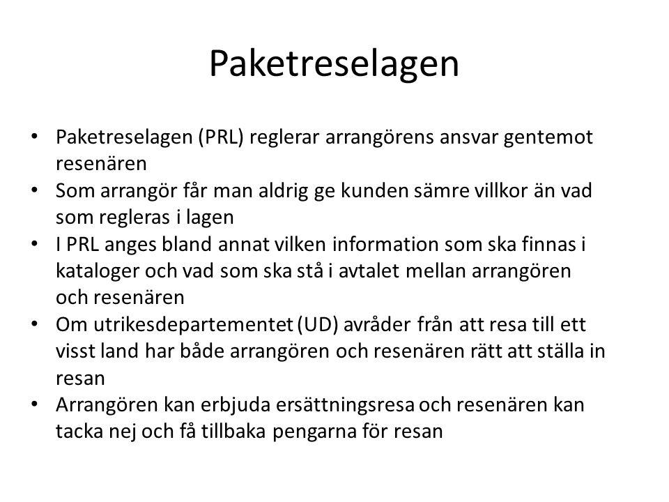 Paketreselagen Paketreselagen (PRL) reglerar arrangörens ansvar gentemot resenären Som arrangör får man aldrig ge kunden sämre villkor än vad som regl