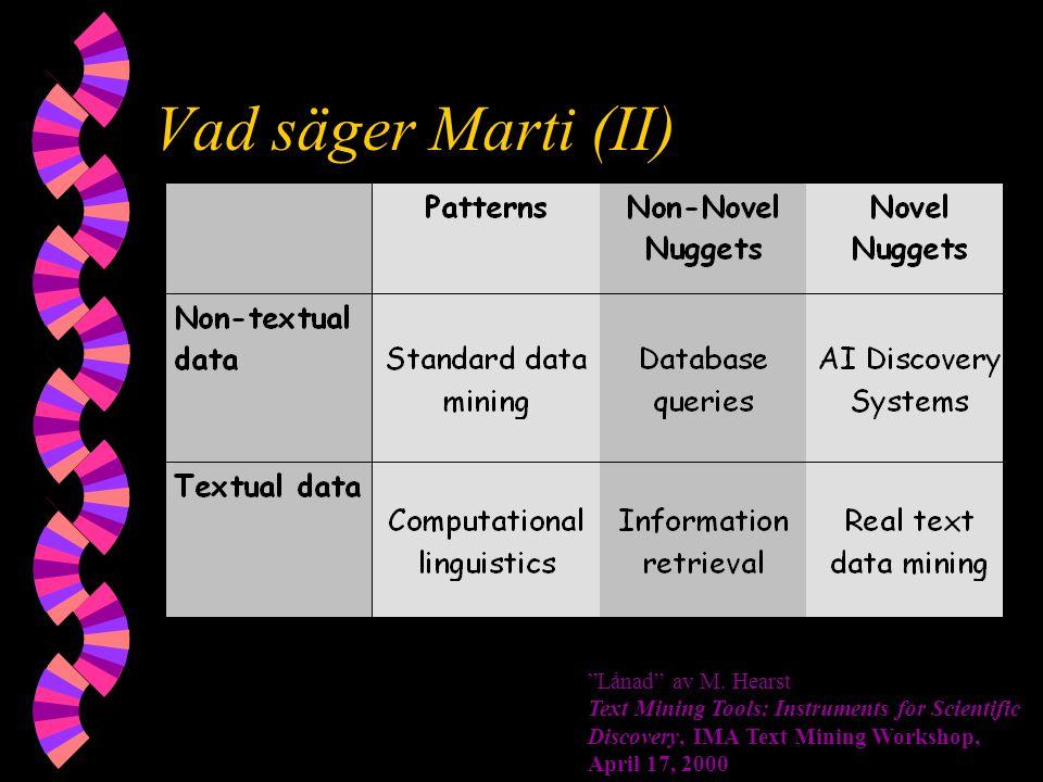 """Vad säger Marti (II) """"Lånad"""" av M. Hearst Text Mining Tools: Instruments for Scientific Discovery, IMA Text Mining Workshop, April 17, 2000"""