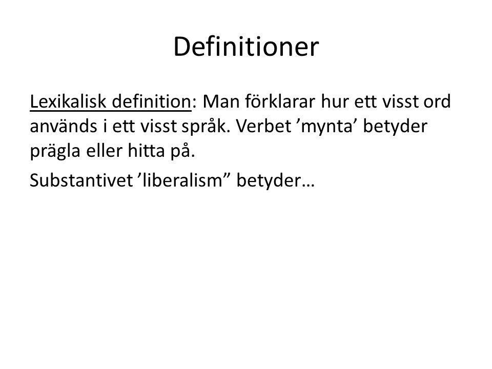 Definitioner Lexikalisk definition: Man förklarar hur ett visst ord används i ett visst språk. Verbet 'mynta' betyder prägla eller hitta på. Substanti