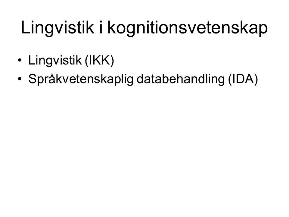Lingvistik i kognitionsvetenskap Lingvistik (IKK) Språkvetenskaplig databehandling (IDA)