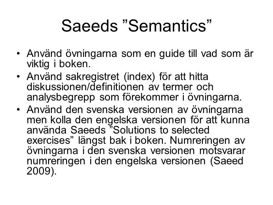 """Saeeds """"Semantics"""" Använd övningarna som en guide till vad som är viktig i boken. Använd sakregistret (index) för att hitta diskussionen/definitionen"""