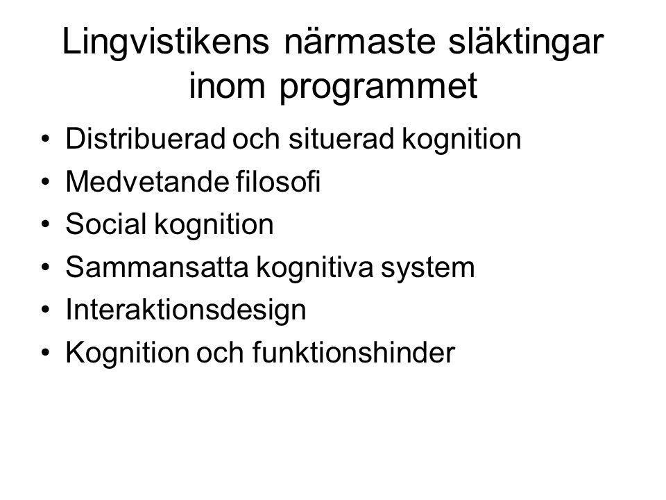 Lingvistikens närmaste släktingar inom programmet Distribuerad och situerad kognition Medvetande filosofi Social kognition Sammansatta kognitiva syste