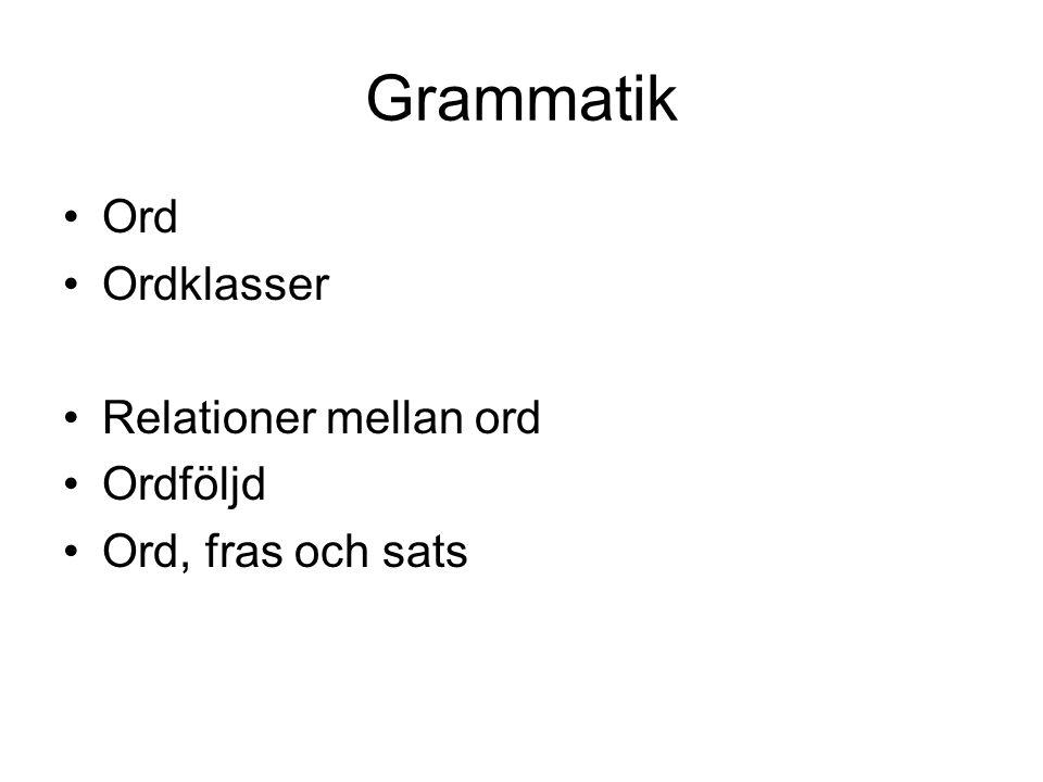 Grammatik Ord Ordklasser Relationer mellan ord Ordföljd Ord, fras och sats