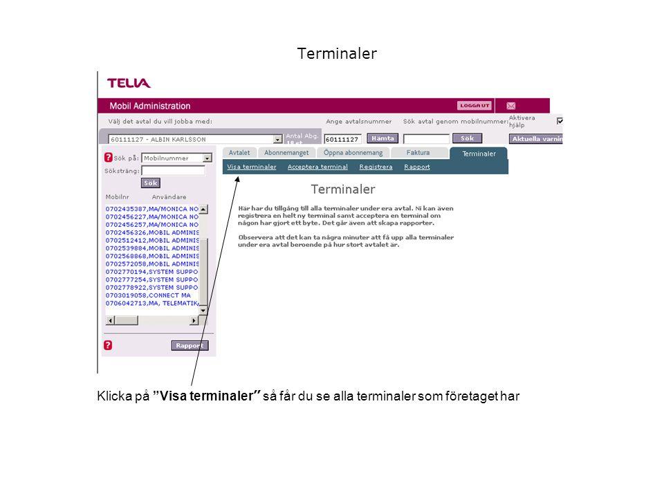 Terminaler Klicka på Visa terminaler så får du se alla terminaler som företaget har
