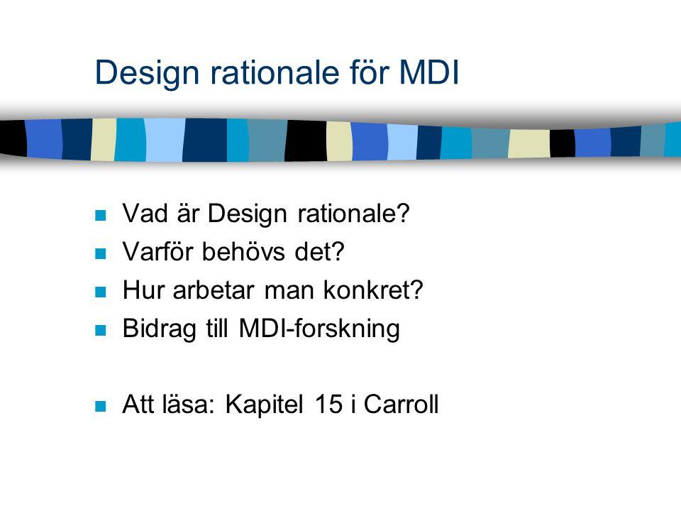 Design rationale för MDI Vad är Design rationale? Varför behövs det? Hur arbetar man konkret? Bidrag till MDI-forskning Att läsa: Kapitel 15 i Carroll