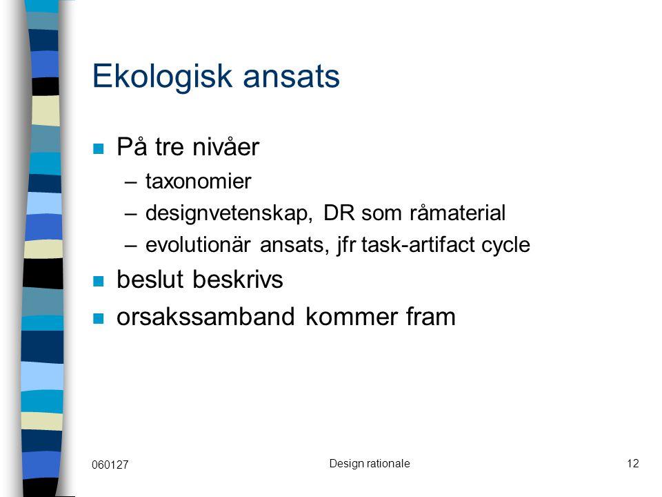 060127 Design rationale12 Ekologisk ansats På tre nivåer –taxonomier –designvetenskap, DR som råmaterial –evolutionär ansats, jfr task-artifact cycle