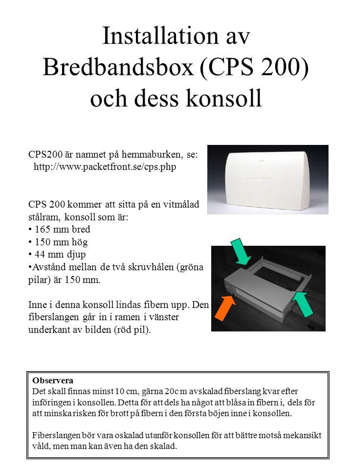 Installation av Bredbandsbox (CPS 200) och dess konsoll CPS200 är namnet på hemmaburken, se: http://www.packetfront.se/cps.php CPS 200 kommer att sitt