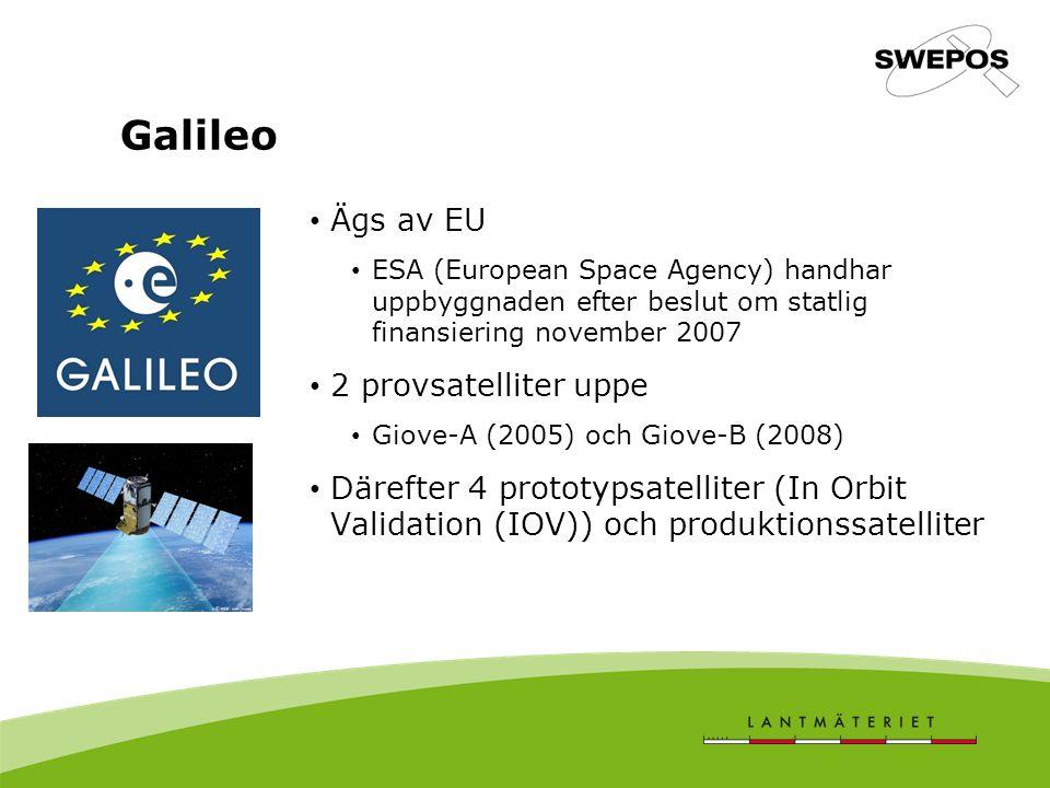 Galileo Ägs av EU ESA (European Space Agency) handhar uppbyggnaden efter beslut om statlig finansiering november 2007 2 provsatelliter uppe Giove-A (2005) och Giove-B (2008) Därefter 4 prototypsatelliter (In Orbit Validation (IOV)) och produktionssatelliter