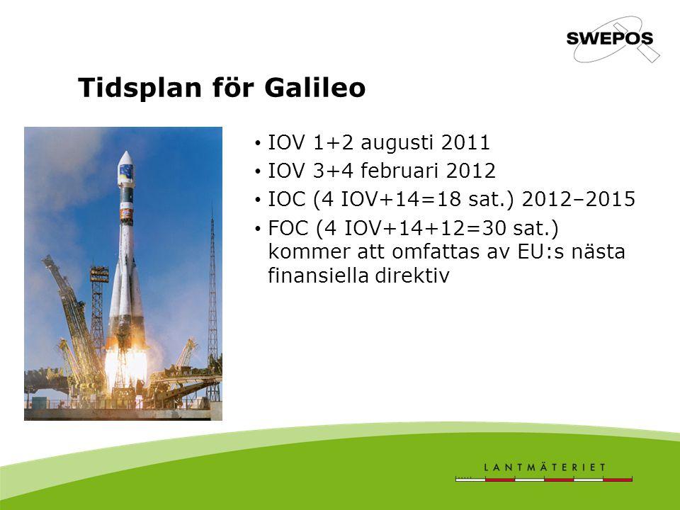 IOV 1+2 augusti 2011 IOV 3+4 februari 2012 IOC (4 IOV+14=18 sat.) 2012–2015 FOC (4 IOV+14+12=30 sat.) kommer att omfattas av EU:s nästa finansiella direktiv Tidsplan för Galileo