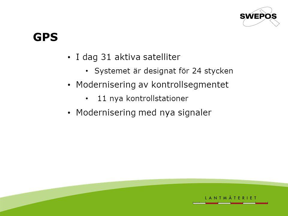 I dag 31 aktiva satelliter Systemet är designat för 24 stycken Modernisering av kontrollsegmentet 11 nya kontrollstationer Modernisering med nya signaler GPS