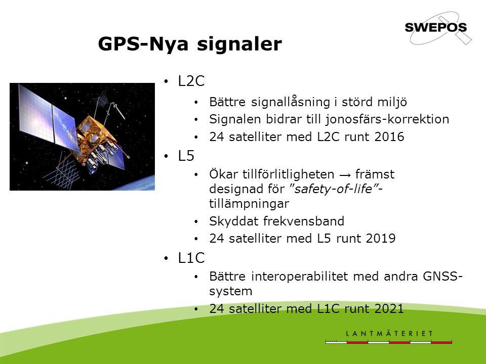GPS-Nya signaler L2C Bättre signallåsning i störd miljö Signalen bidrar till jonosfärs-korrektion 24 satelliter med L2C runt 2016 L5 Ökar tillförlitligheten → främst designad för safety-of-life - tillämpningar Skyddat frekvensband 24 satelliter med L5 runt 2019 L1C Bättre interoperabilitet med andra GNSS- system 24 satelliter med L1C runt 2021