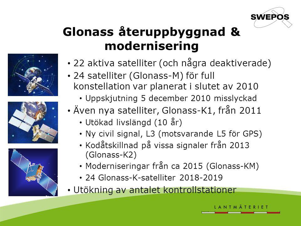 Glonass återuppbyggnad & modernisering 22 aktiva satelliter (och några deaktiverade) 24 satelliter (Glonass-M) för full konstellation var planerat i slutet av 2010 Uppskjutning 5 december 2010 misslyckad Även nya satelliter, Glonass-K1, från 2011 Utökad livslängd (10 år) Ny civil signal, L3 (motsvarande L5 för GPS) Kodåtskillnad på vissa signaler från 2013 (Glonass-K2) Moderniseringar från ca 2015 (Glonass-KM) 24 Glonass-K-satelliter 2018-2019 Utökning av antalet kontrollstationer