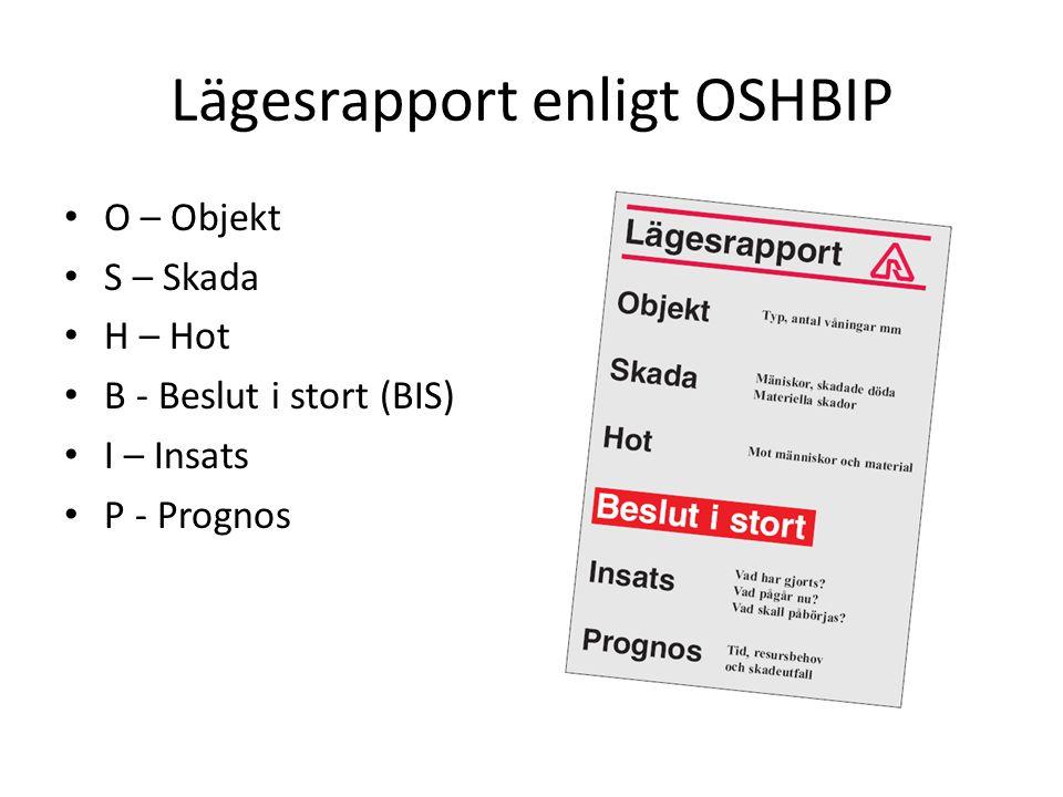 Lägesrapport enligt OSHBIP O – Objekt S – Skada H – Hot B - Beslut i stort (BIS) I – Insats P - Prognos