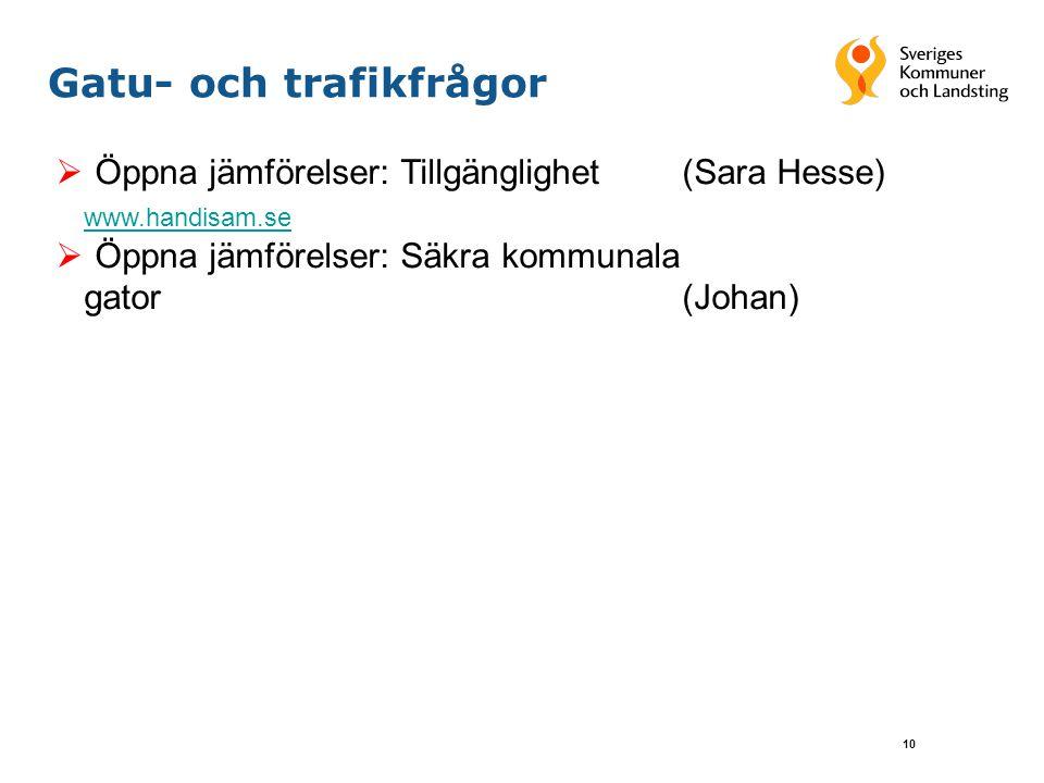 10 Gatu- och trafikfrågor  Öppna jämförelser: Tillgänglighet (Sara Hesse) www.handisam.se  Öppna jämförelser: Säkra kommunala gator(Johan)