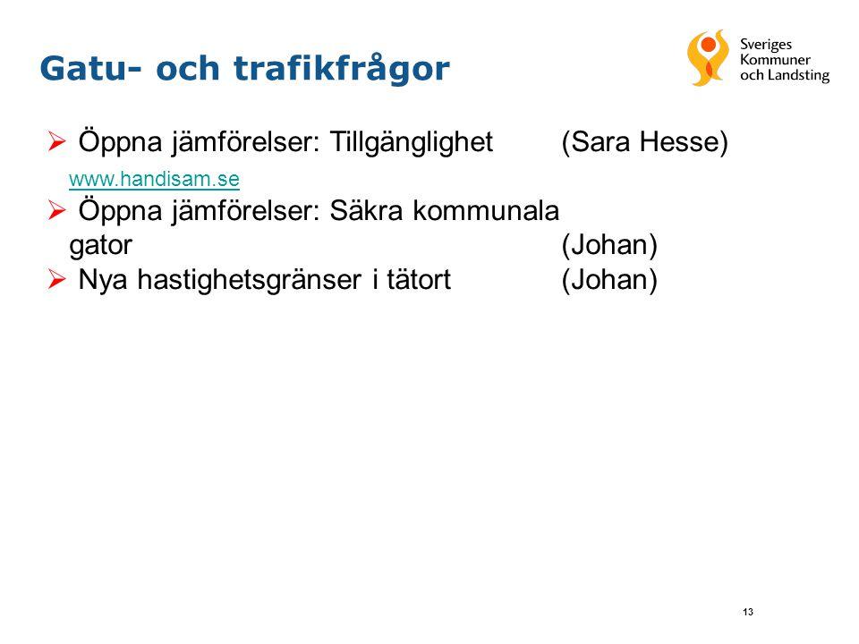 13 Gatu- och trafikfrågor  Öppna jämförelser: Tillgänglighet (Sara Hesse) www.handisam.se  Öppna jämförelser: Säkra kommunala gator(Johan)  Nya has