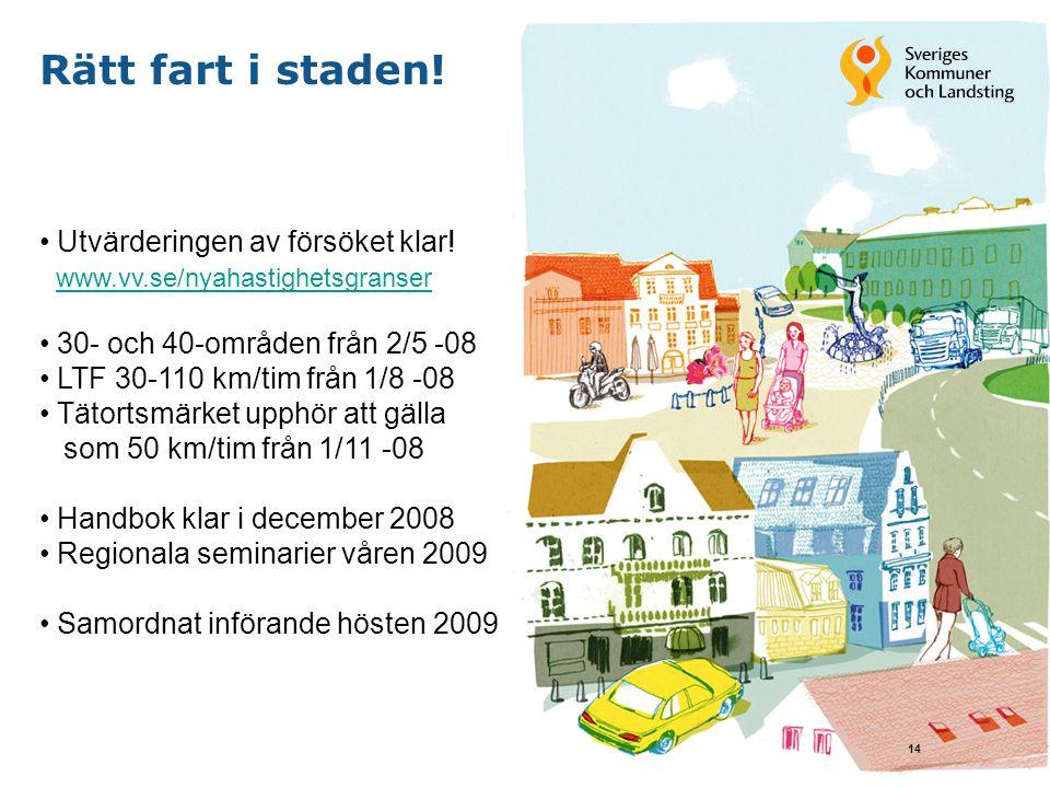 14 Rätt fart i staden! Utvärderingen av försöket klar! www.vv.se/nyahastighetsgranser 30- och 40-områden från 2/5 -08 LTF 30-110 km/tim från 1/8 -08 T