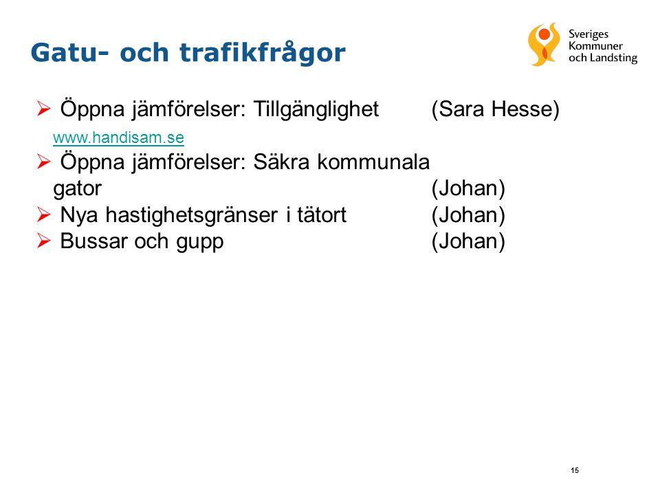 15 Gatu- och trafikfrågor  Öppna jämförelser: Tillgänglighet (Sara Hesse) www.handisam.se  Öppna jämförelser: Säkra kommunala gator(Johan)  Nya hastighetsgränser i tätort (Johan)  Bussar och gupp(Johan)