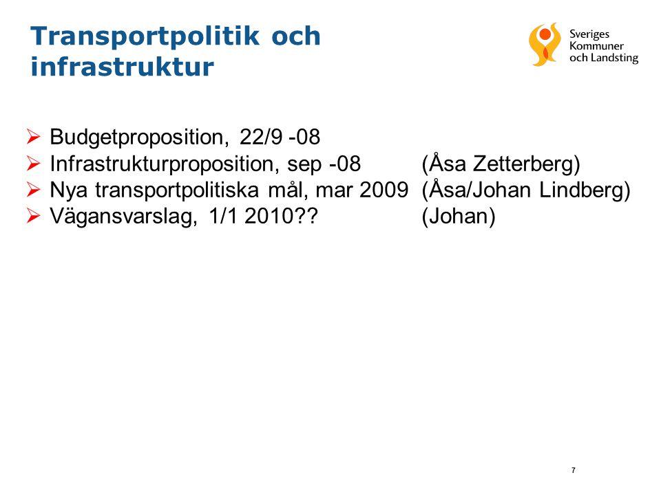 7 Transportpolitik och infrastruktur  Budgetproposition, 22/9 -08  Infrastrukturproposition, sep -08(Åsa Zetterberg)  Nya transportpolitiska mål, mar 2009 (Åsa/Johan Lindberg)  Vägansvarslag, 1/1 2010 (Johan)
