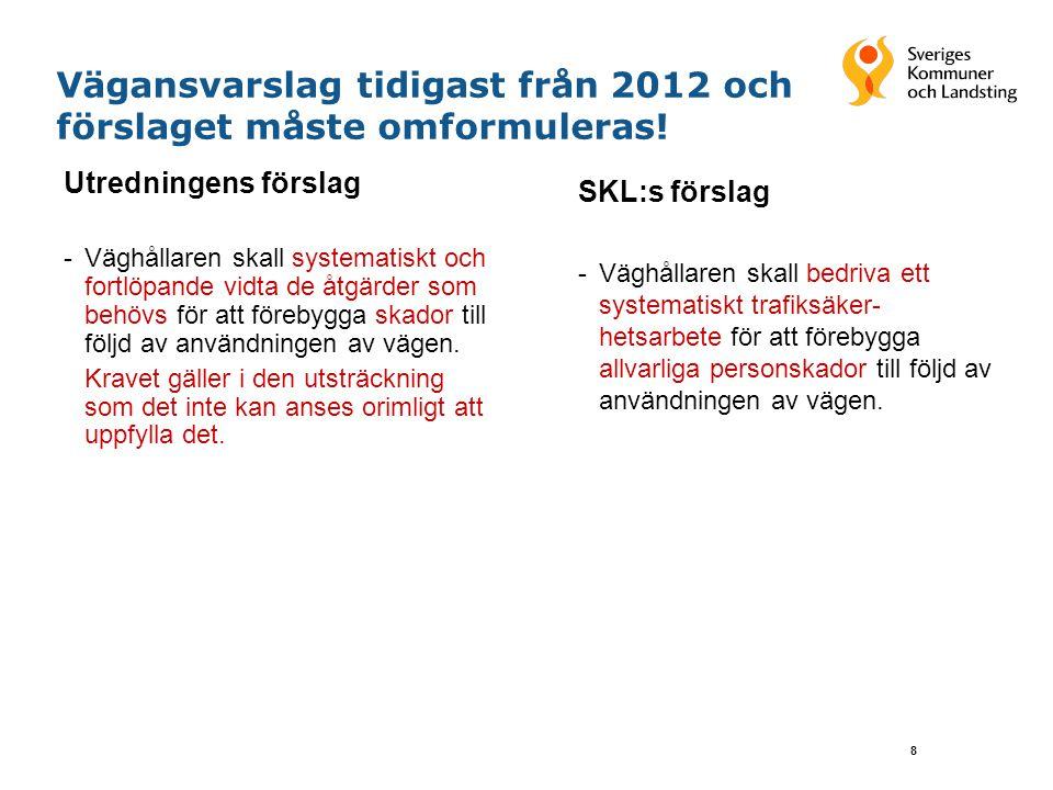 8 Vägansvarslag tidigast från 2012 och förslaget måste omformuleras! SKL:s förslag -Väghållaren skall bedriva ett systematiskt trafiksäker- hetsarbete