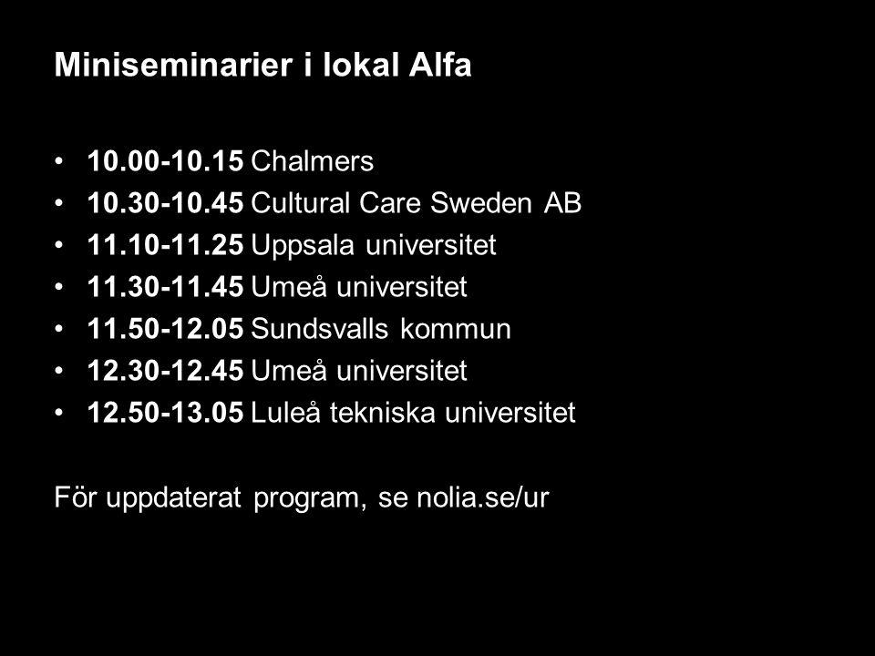 Miniseminarier i lokal Alfa 10.00-10.15 Chalmers 10.30-10.45 Cultural Care Sweden AB 11.10-11.25 Uppsala universitet 11.30-11.45 Umeå universitet 11.50-12.05 Sundsvalls kommun 12.30-12.45 Umeå universitet 12.50-13.05 Luleå tekniska universitet För uppdaterat program, se nolia.se/ur