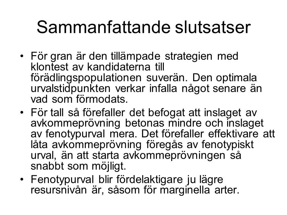 Sammanfattande slutsatser För gran är den tillämpade strategien med klontest av kandidaterna till förädlingspopulationen suverän.