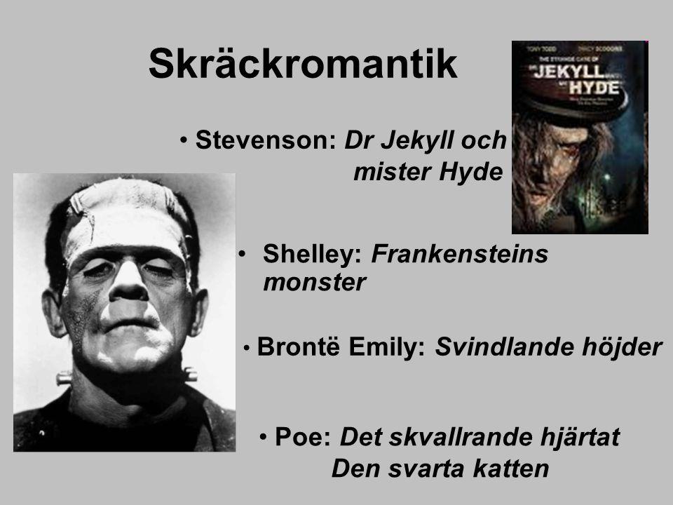 Skräckromantik Shelley: Frankensteins monster Poe: Det skvallrande hjärtat Den svarta katten Stevenson: Dr Jekyll och mister Hyde Brontë Emily: Svindl