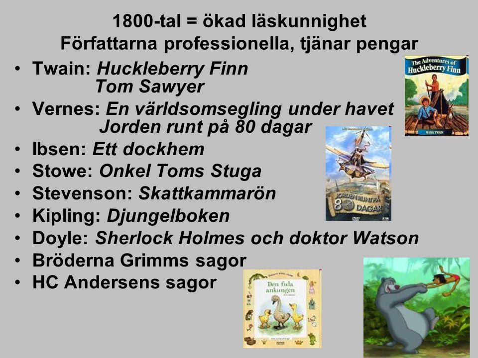 1800-tal = ökad läskunnighet Författarna professionella, tjänar pengar Twain: Huckleberry Finn Tom Sawyer Vernes: En världsomsegling under havet Jorde