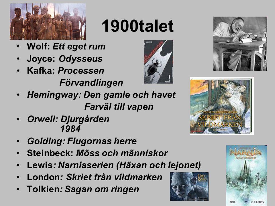 1900talet Wolf: Ett eget rum Joyce: Odysseus Kafka: Processen Förvandlingen Hemingway: Den gamle och havet Farväl till vapen Orwell: Djurgården 1984 G