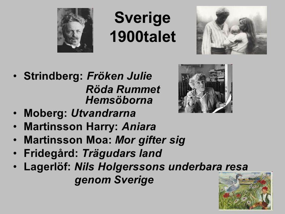 Sverige 1900talet Strindberg: Fröken Julie Röda Rummet Hemsöborna Moberg: Utvandrarna Martinsson Harry: Aniara Martinsson Moa: Mor gifter sig Fridegår