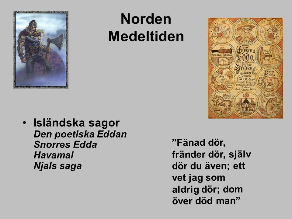"""Norden Medeltiden Isländska sagor Den poetiska Eddan Snorres Edda Havamal Njals saga """"Fänad dör, fränder dör, själv dör du även; ett vet jag som aldri"""