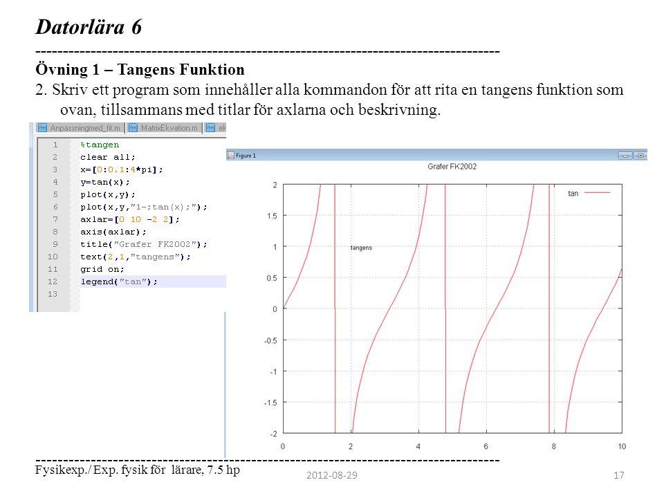 Datorlära 6 ------------------------------------------------------------------------------------ Övning 1 – Tangens Funktion 2. Skriv ett program som
