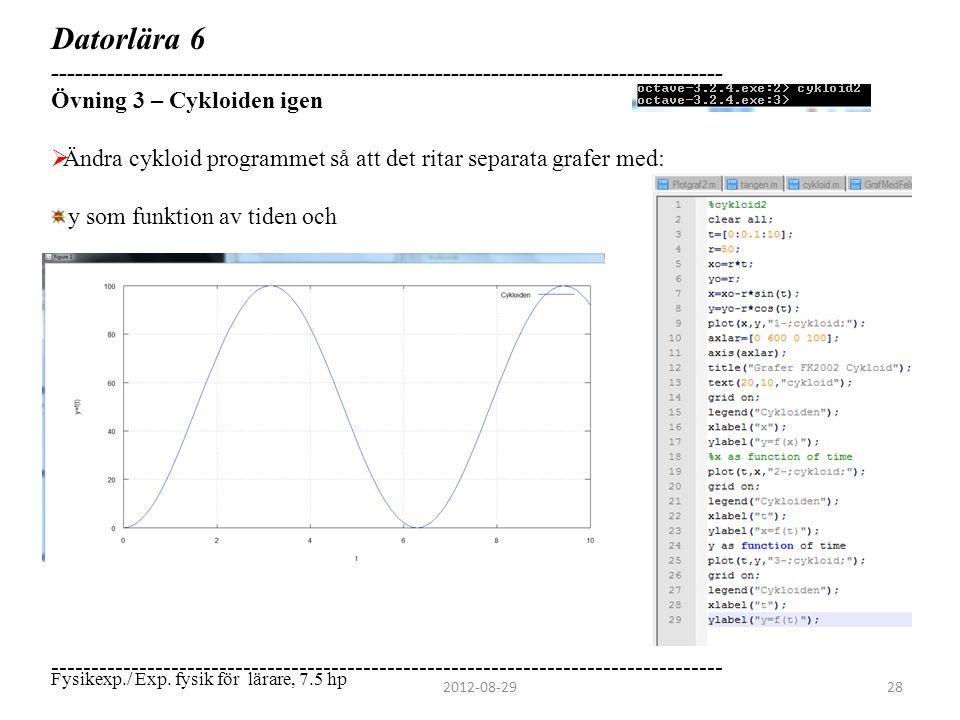 Datorlära 6 ------------------------------------------------------------------------------------ Övning 3 – Cykloiden igen  Ändra cykloid programmet
