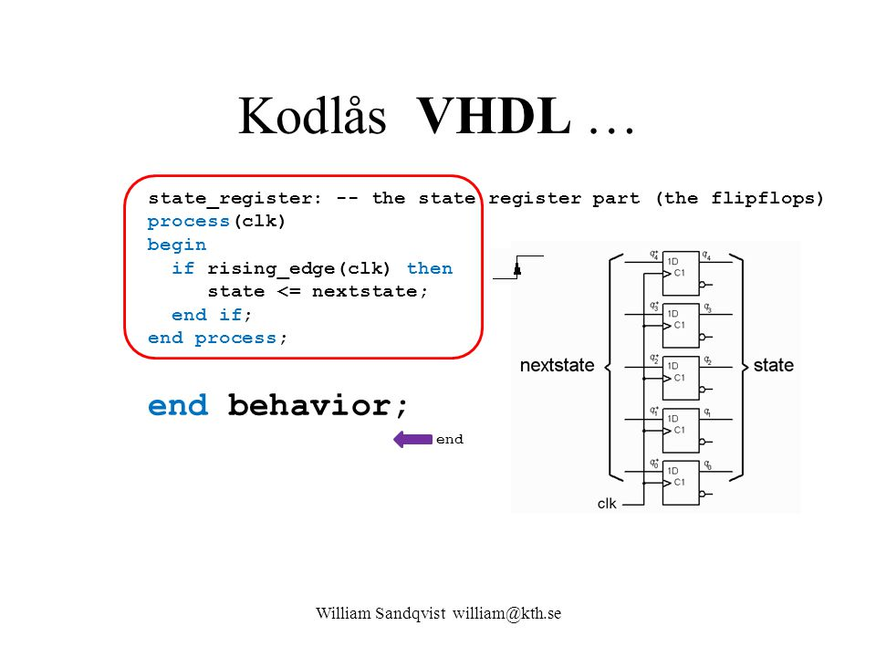Kodlås VHDL … state_register: -- the state register part (the flipflops) process(clk) begin if rising_edge(clk) then state <= nextstate; end if; end p