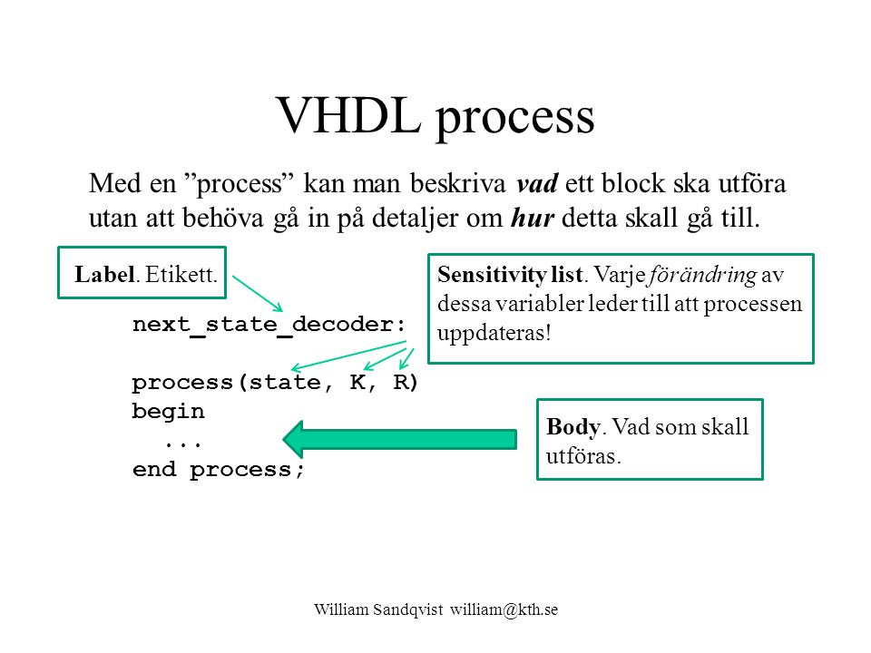 lockmall.vhd William Sandqvist william@kth.se library IEEE; use IEEE.std_logic_1164.all; use IEEE.std_logic_arith.all; entity codelock is port( clk: in std_logic; K: in std_logic_vector(1 to 3); R: in std_logic_vector(1 to 4); q: out std_logic_vector(4 downto 0); UNLOCK: out std_logic ); end codelock; architecture behavior of codelock is subtype state_type is integer range 0 to 31; signal state, nextstate: state_type; begin nextstate_decoder: -- next state decoding part process(state, K, R) begin case state is when 0 => if (K = 100 and R = 0001 ) then nextstate <= 1; else nextstate <= 0; end if; when 1 => if (K = 100 and R = 0001 ) then nextstate <= 1; elsif (K = 000 and R = 0000 ) then nextstate <= 2; else nextstate <= 0; end if; when 2 to 30 => nextstate <= state + 1; when 31 => nextstate <= 0; end case; end process; debug_output: -- display the state q <= conv_std_logic_vector(state,5); output_decoder: -- output decoder part process(state) begin case state is when 0 to 1 => UNLOCK <= 0 ; when 2 to 31 => UNLOCK <= 1 ; end case; end process; state_register: -- the state register part (the flipflops) process(clk) begin if rising_edge(clk) then state <= nextstate; end if; end process; end behavior; entity architecture next_state_decoder: output_decoder: state_register: start end start end