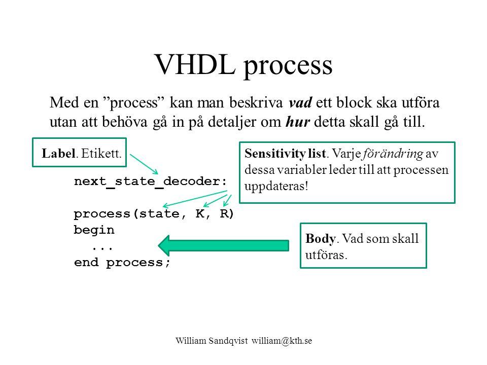 VHDL process William Sandqvist william@kth.se next_state_decoder: process(state, K, R) begin...