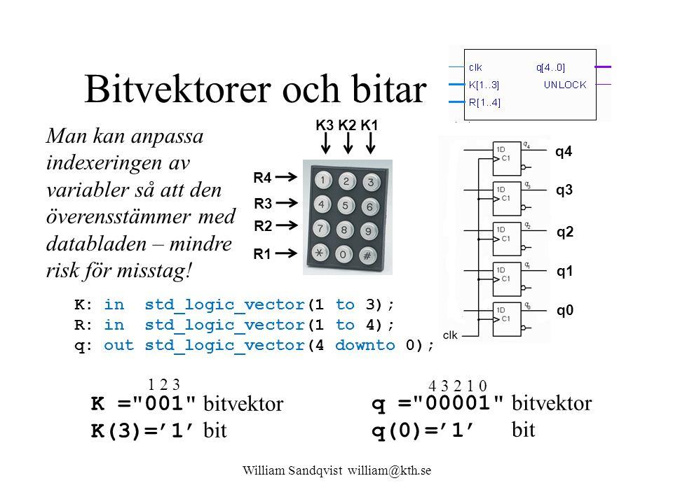 Bitvektorer och bitar K: in std_logic_vector(1 to 3); R: in std_logic_vector(1 to 4); q: out std_logic_vector(4 downto 0); William Sandqvist william@kth.se K1 K2K3 R4 R3 R2 R1 q4 q3 q2 q1 q0 K = 001 K(3)='1' bitvektor bit 1 2 3 q = 00001 q(0)='1' bitvektor bit 4 3 2 1 0 Man kan anpassa indexeringen av variabler så att den överensstämmer med databladen – mindre risk för misstag!