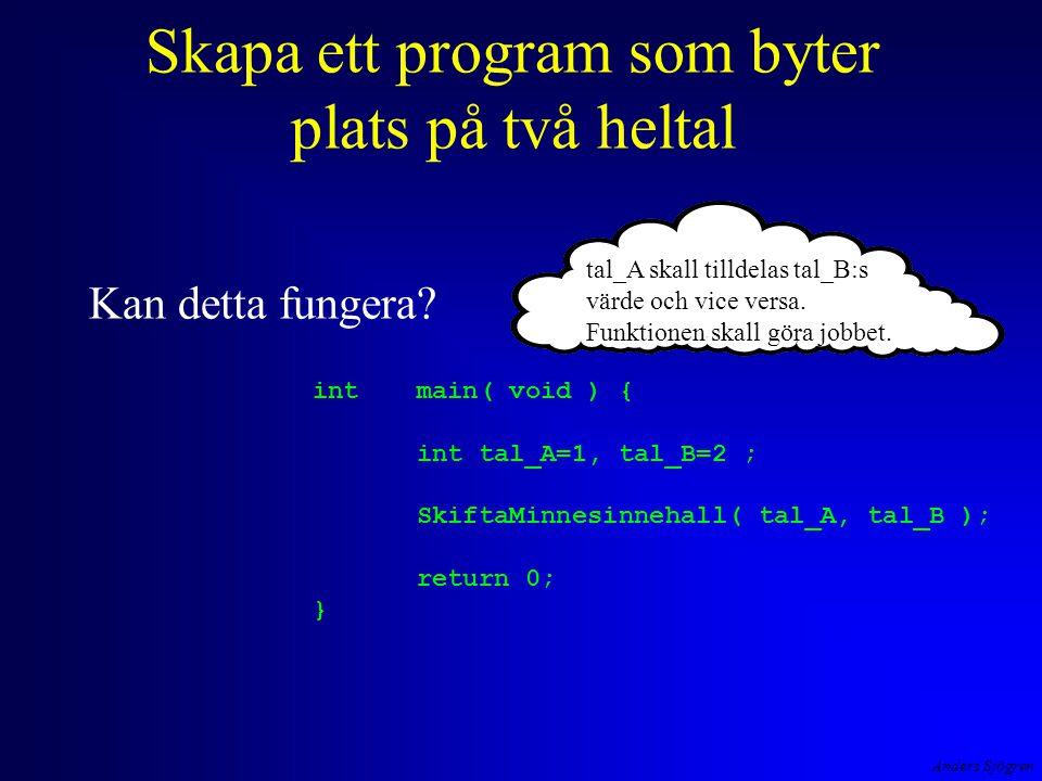 Anders Sjögren Vad händer då man definierar ett minne int main( void ) { int tal_A=1, tal_B=2 ; SkiftaMinnesinnehall( tal_A, tal_B ); return 0; } tal_Atal_B 12