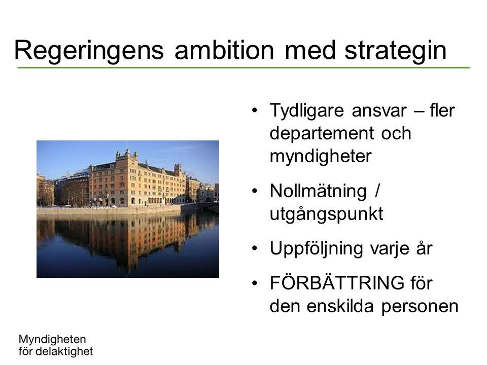 Regeringens ambition med strategin Tydligare ansvar – fler departement och myndigheter Nollmätning / utgångspunkt Uppföljning varje år FÖRBÄTTRING för